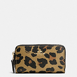 COACH F66472 Small Double Zip Coin Case In Leopard Print Coated Canvas IMITATION GOLD/NATURAL