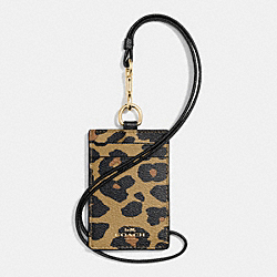 COACH F66473 Lanyard Id Case In Leopard Print Coated Canvas IMITATION GOLD/NATURAL