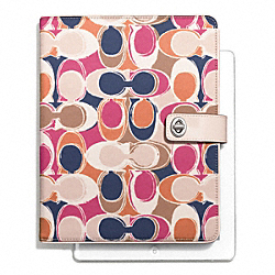 COACH F66478 Park Hand Drawn Scarf Print Turnlock Ipad Case
