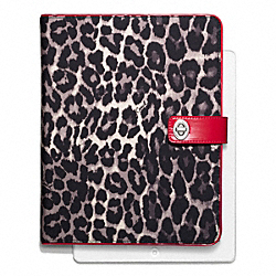 COACH F66479 Park Ocelot Print Turnlock Ipad Case