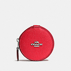 COACH F66501 Round Trinket Box In Crossgrain Leather SILVER/BRIGHT RED