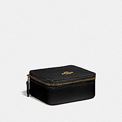 COACH F66502 - JEWELRY BOX IN CROSSGRAIN LEATHER IMITATION GOLD/BLACK