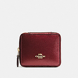 COACH F66502 - JEWELRY BOX IN CROSSGRAIN LEATHER IMITATION GOLD/METALLIC CHERRY