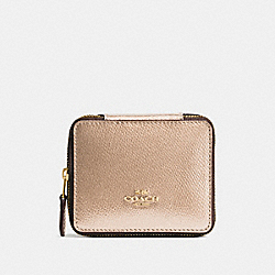COACH F66502 - JEWELRY BOX IN CROSSGRAIN LEATHER IMITATION GOLD/PLATINUM