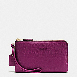 COACH F66505 Double Corner Zip Wristlet In Pebble Leather IMITATION GOLD/FUCHSIA
