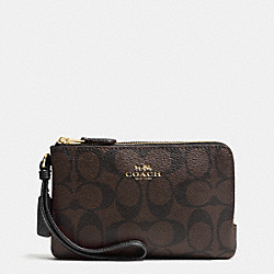 COACH F66506 Double Corner Zip Wristlet In Signature IMITATION GOLD/BROWN/BLACK