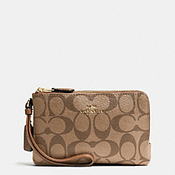 COACH F66506 Double Corner Zip Wristlet In Signature IMITATION GOLD/KHAKI/SADDLE