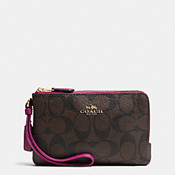 COACH F66506 Double Corner Zip Wristlet In Signature IMITATION GOLD/BROWN/FUCHSIA
