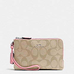 COACH F66506 Double Corner Zip Wristlet In Signature Coated Canvas SILVER/LIGHT KHAKI/BLUSH