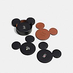 COACH F66512 Mickey Coaster Set BLACK