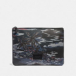 LARGE POUCH WITH HAWAIIAN PRINT - F66545 - BLACK MULTI/BLACK ANTIQUE NICKEL