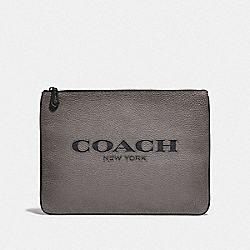 LARGE POUCH WITH COACH CUT OUT - F66547 - HEATHER GREY MULTI/BLACK ANTIQUE NICKEL