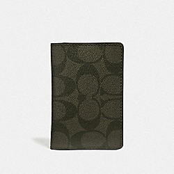 COACH F66549 Card Wallet In Signature Canvas SURPLUS/BLACK ANTIQUE NICKEL