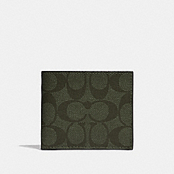 COACH F66551 - ID BILLFOLD WALLET IN SIGNATURE CANVAS SURPLUS/BLACK ANTIQUE NICKEL