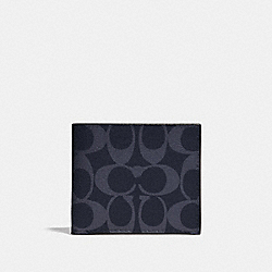 COACH F66551 - ID BILLFOLD WALLET IN SIGNATURE CANVAS DENIM/BLACK ANTIQUE NICKEL