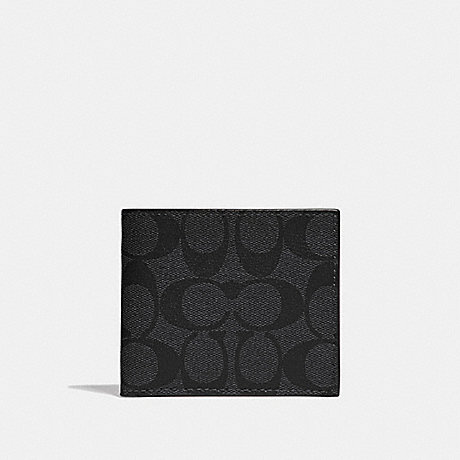 700ace3d4614 COACH F66551 ID BILLFOLD WALLET IN SIGNATURE CANVAS CHARCOAL BLACK BLACK  ANTIQUE NICKEL