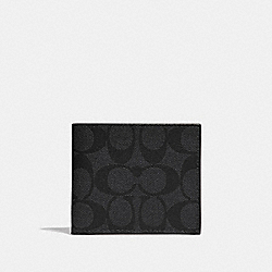 ID BILLFOLD WALLET IN SIGNATURE CANVAS - F66551 - CHARCOAL/BLACK/BLACK ANTIQUE NICKEL