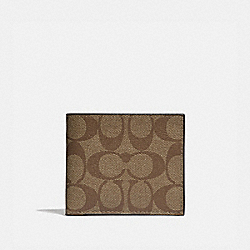 COACH F66551 - ID BILLFOLD WALLET IN SIGNATURE CANVAS TAN/BLACK ANTIQUE NICKEL