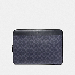 COACH F66553 Laptop Case In Signature Canvas DENIM/BLACK ANTIQUE NICKEL