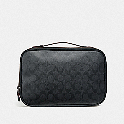 MULTIFUNCTION POUCH IN SIGNATURE CANVAS - F66554 - BLACK/BLACK/OXBLOOD
