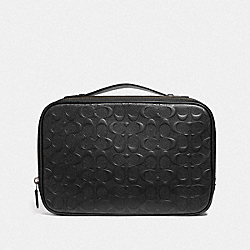 MULTIFUNCTION POUCH IN SIGNATURE LEATHER - F66555 - BLACK/BLACK ANTIQUE NICKEL