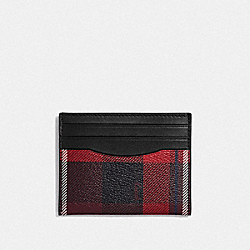 COACH F66565 - SLIM ID CARD CASE WITH PLAID PRINT RED MULTI/BLACK ANTIQUE NICKEL