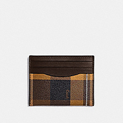 COACH F66565 Slim Id Card Case With Plaid Print YELLOW MULTI/BLACK ANTIQUE NICKEL