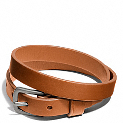COACH F66578 Camden Leather Bracelet SILVER/ORANGE