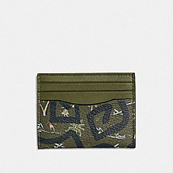 KEITH HARING SLIM ID CARD CASE WITH HULA DANCE PRINT - F66579 - SURPLUS MULTI/BLACK ANTIQUE NICKEL