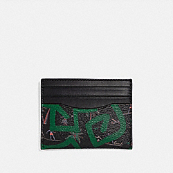 COACH F66579 - KEITH HARING SLIM ID CARD CASE WITH HULA DANCE PRINT BLACK MULTI/BLACK ANTIQUE NICKEL