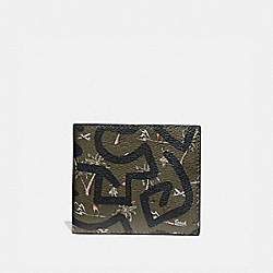 COACH F66581 - KEITH HARING ID BILLFOLD WITH HULA DANCE PRINT SURPLUS MULTI/BLACK ANTIQUE NICKEL