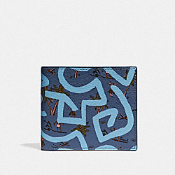 COACH F66581 Keith Haring Id Billfold With Hula Dance Print SKY BLUE MULTI/BLACK ANTIQUE NICKEL