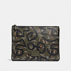 KEITH HARING LARGE POUCH WITH HULA DANCE PRINT - F66583 - SURPLUS MULTI/BLACK ANTIQUE NICKEL