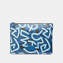 COACH F66583 Keith Haring Large Pouch With Hula Dance Print SKY BLUE MULTI/BLACK ANTIQUE NICKEL