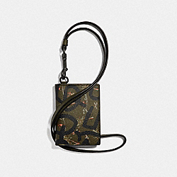 COACH F66586 - KEITH HARING ID CARD CASE LANYARD WITH HULA DANCE PRINT SURPLUS MULTI/BLACK ANTIQUE NICKEL