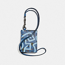 COACH F66586 - KEITH HARING ID CARD CASE LANYARD WITH HULA DANCE PRINT SKY BLUE MULTI/BLACK ANTIQUE NICKEL