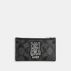 KEITH HARING ZIP CARD CASE IN SIGNATURE CANVAS WITH MOTIF - F66588 - CHARCOAL/BLACK/BLACK ANTIQUE NICKEL