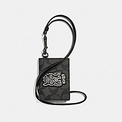 KEITH HARING ID CARD CASE LANYARD IN SIGNATURE CANVAS WITH MOTIF - F66592 - CHARCOAL/BLACK/BLACK ANTIQUE NICKEL