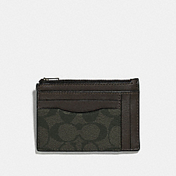 COACH F66649 - MULTIWAY ZIP CARD CASE IN SIGNATURE CANVAS SURPLUS/BLACK ANTIQUE NICKEL