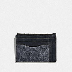 COACH F66649 Multiway Zip Card Case In Signature Canvas DENIM/BLACK ANTIQUE NICKEL