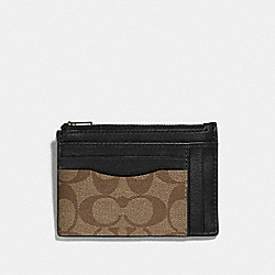 COACH F66649 - MULTIWAY ZIP CARD CASE IN SIGNATURE CANVAS TAN/BLACK ANTIQUE NICKEL