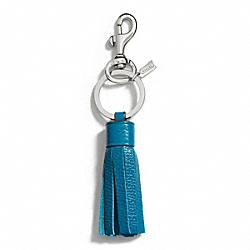 COACH F66662 Leather Tassel Charm Key Ring SILVER/DARK PLUME