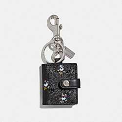 COACH F66665 - PICTURE FRAME BAG CHARM WITH DITSY FLORAL PRINT BLACK/SILVER