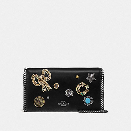 COACH F66671 CALLIE FOLDOVER CHAIN CLUTCH WITH VINTAGE JEWELRY V5/BLACK