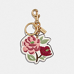 COACH F66741 Tossed Peony Bag Charm CHALK/GOLD