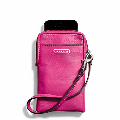 COACH f66787 CAMPBELL LEATHER UNIVERSAL PHONE CASE SILVER/FUCHSIA