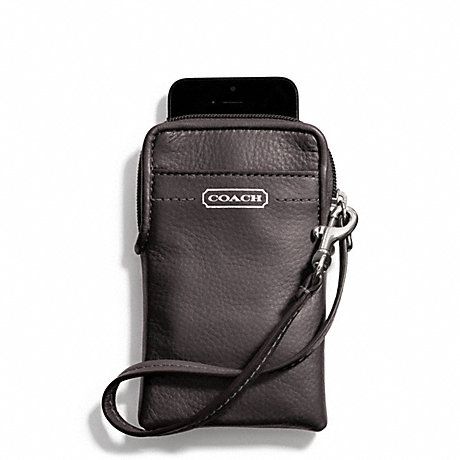 COACH f66787 CAMPBELL LEATHER UNIVERSAL PHONE CASE SILVER/HEMATITE