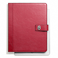 COACH F66788 Campbell Leather Turnlock Ipad Case SILVER/RED