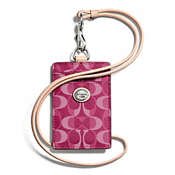 COACH F66799 - PEYTON DREAM C LANYARD ID SILVER/BORDEAUX/TAN