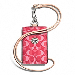 COACH F66799 - PEYTON DREAM C LANYARD ID SILVER/BRIGHT CORAL/TAN